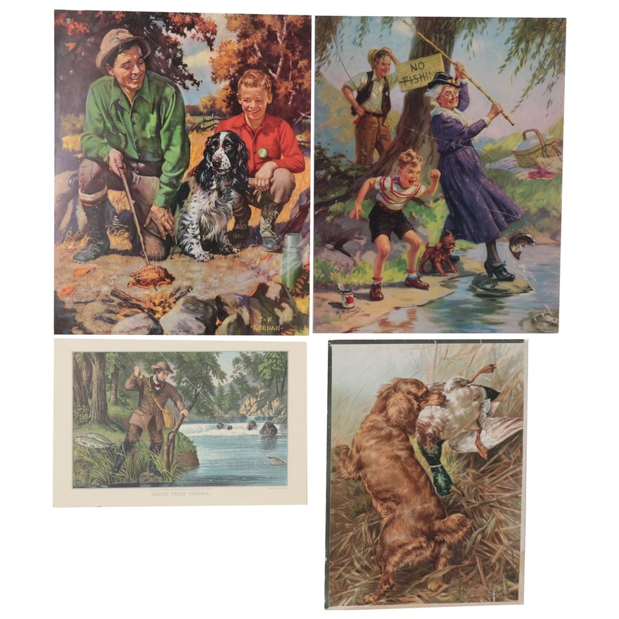Chromolithograph and Offset Lithographs of Hunting and Fishing Scenes