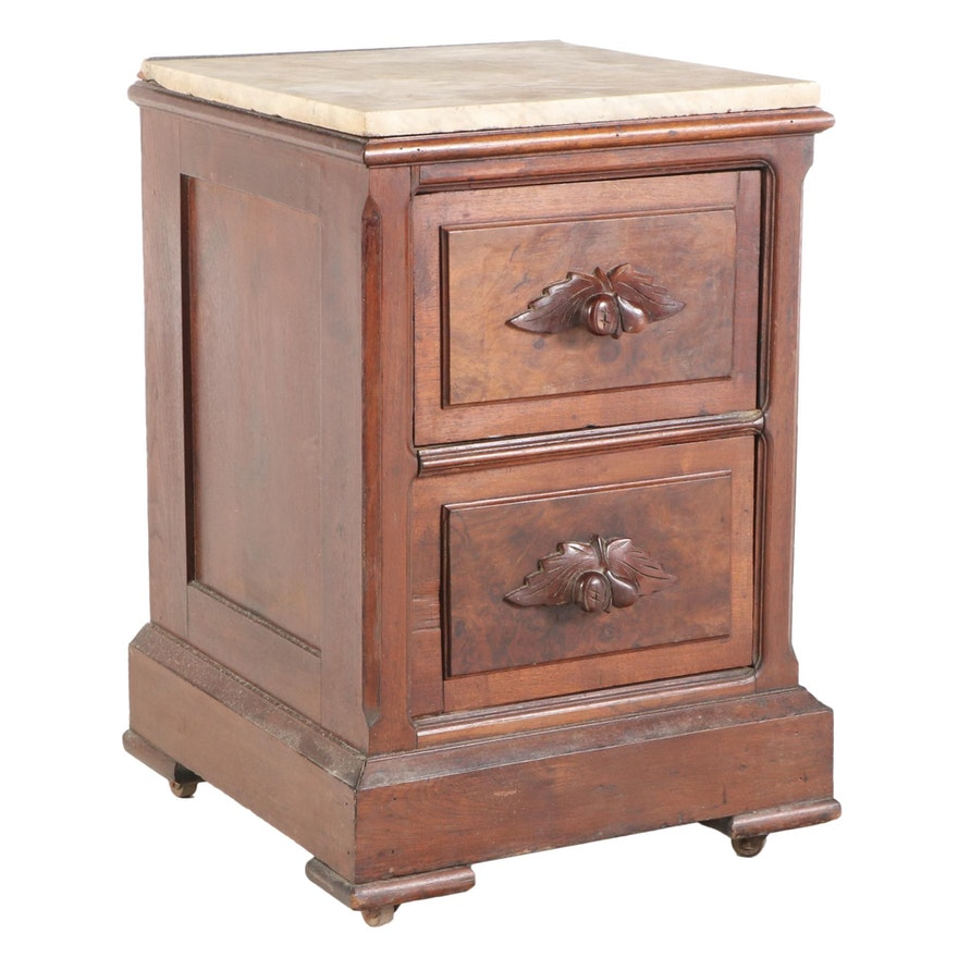 Victorian Walnut, Burl Walnut, and Marble Top Two-Drawer Bedside Chest