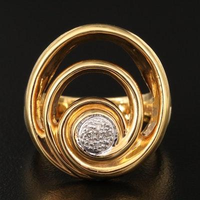 14K Diamond Spiral Electroform Ring