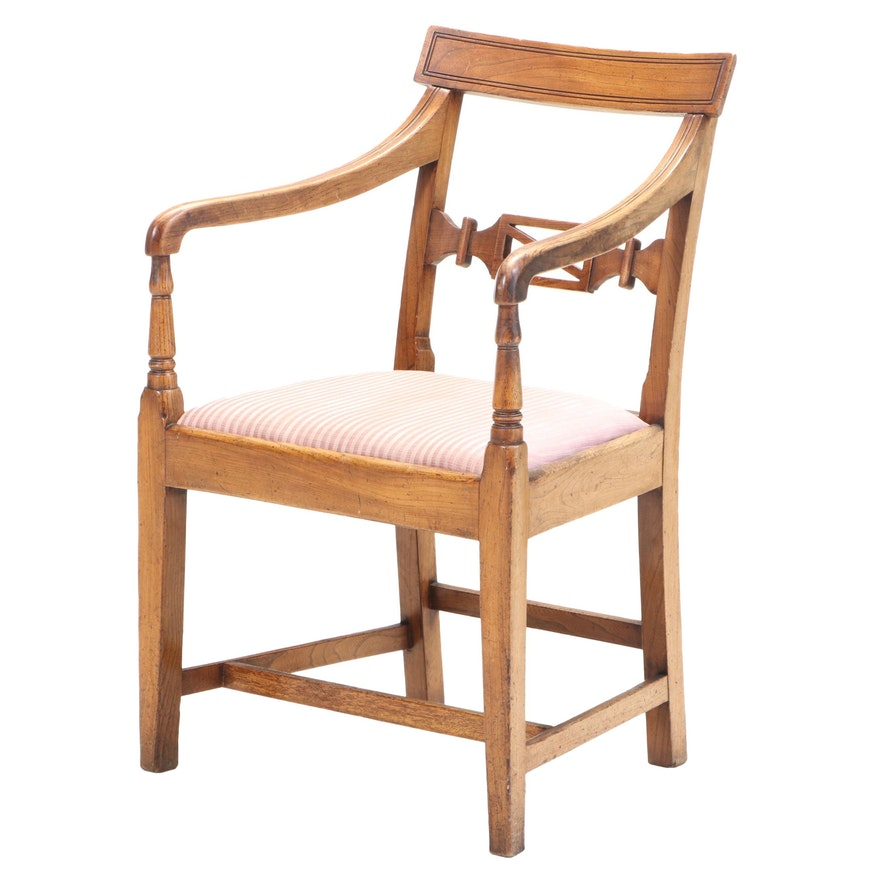 Duncan Phyfe Style Oak Upholstered Armchair, Early to Mid-20th Century