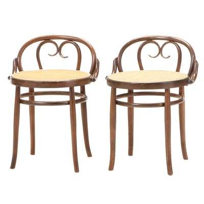 Salvatore Leone Thonet Style Italian Bentwood Stools with Caned Seats