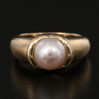 14K Pearl Ring with Matte Finish Shoulders