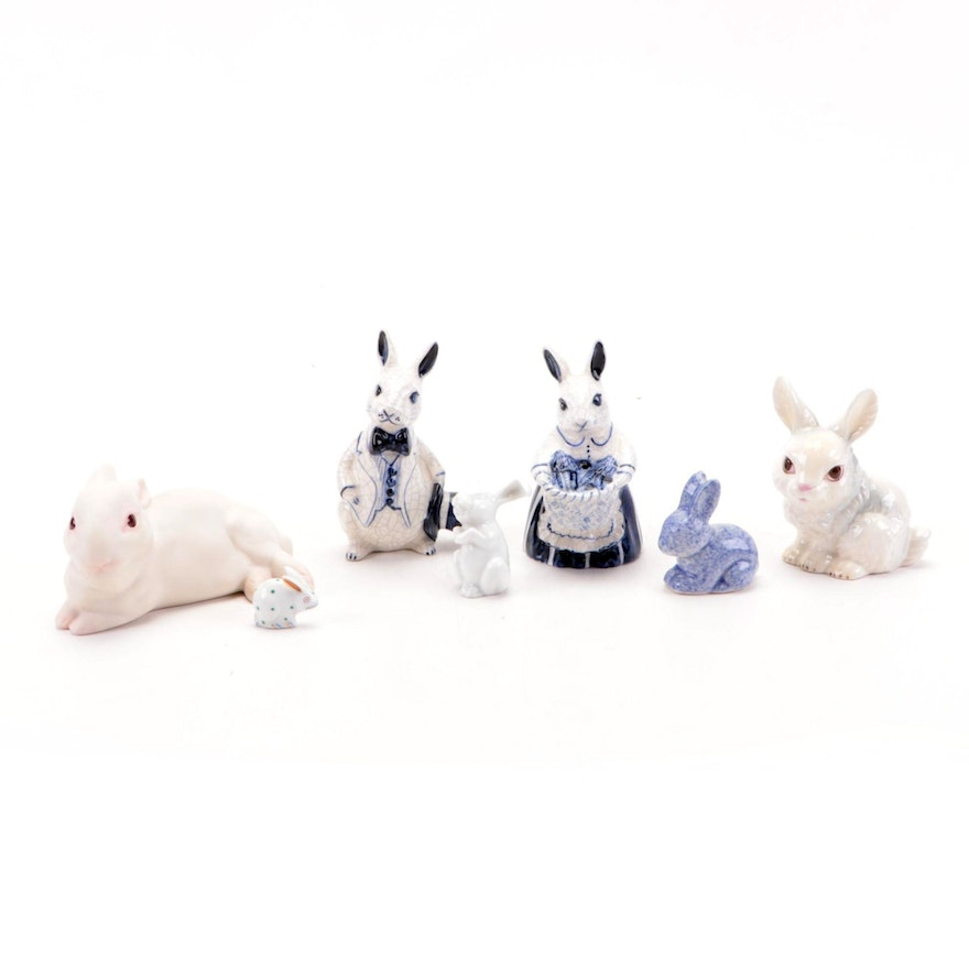 Goebel, Cybis and Other Porcelain and Bone China Rabbit Figurines