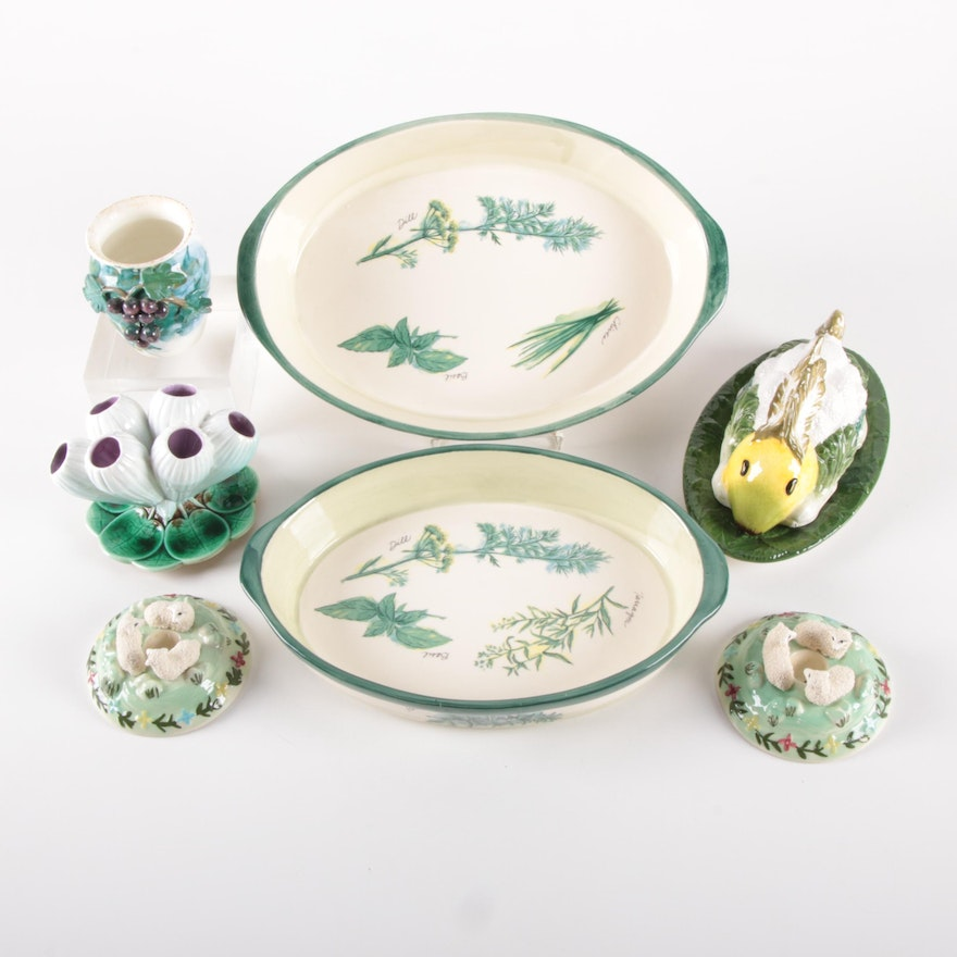 Sur La Table Rabbit with Williams-Sonoma Baking Dishes and Other Ceramics