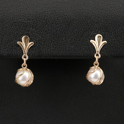 14K Wire Wrapped Pearl Drop Earrings
