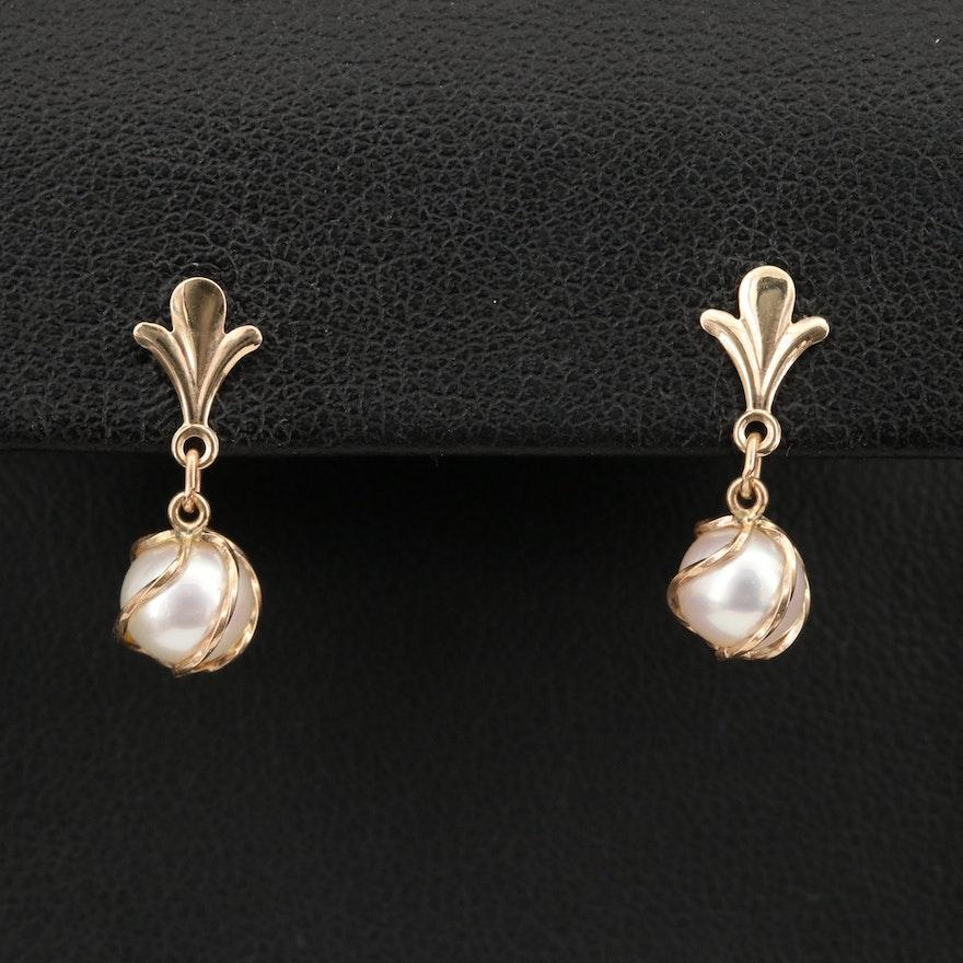 14K Wire Wrapped Pearl Drop Earrings