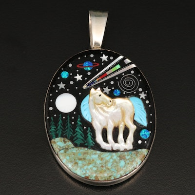 Sterling Reversible Cobble Stone and Gemstone Inlay Pony in Night Sky Pendant