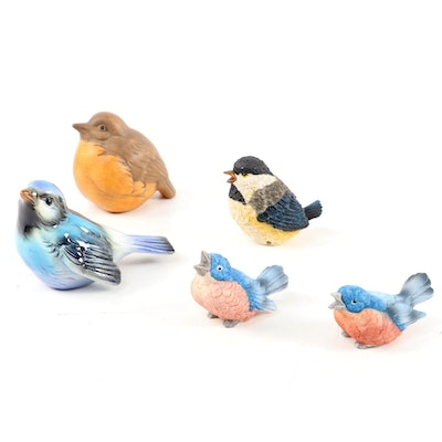 Goebel Porcelain Blue Bird with Other Bird Figurines