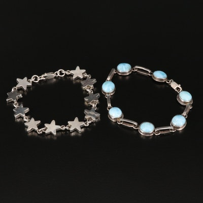 Sterling Bezel Set Larimar Bracelet with Star Link Bracelet