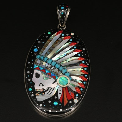 Sterling Skull in Headdress Inlay Pendant with Abalone and Additional Gemstones