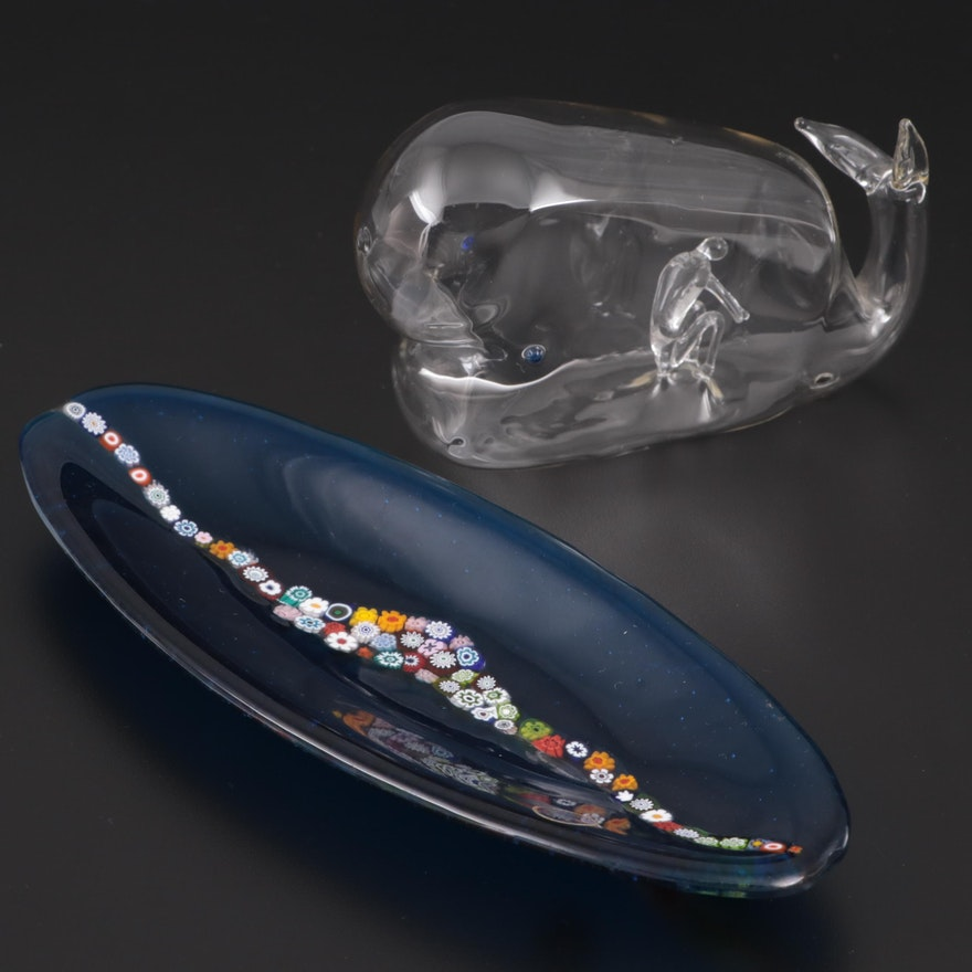 Blown Glass Jonah and Whale with Murano Millefiori Dish