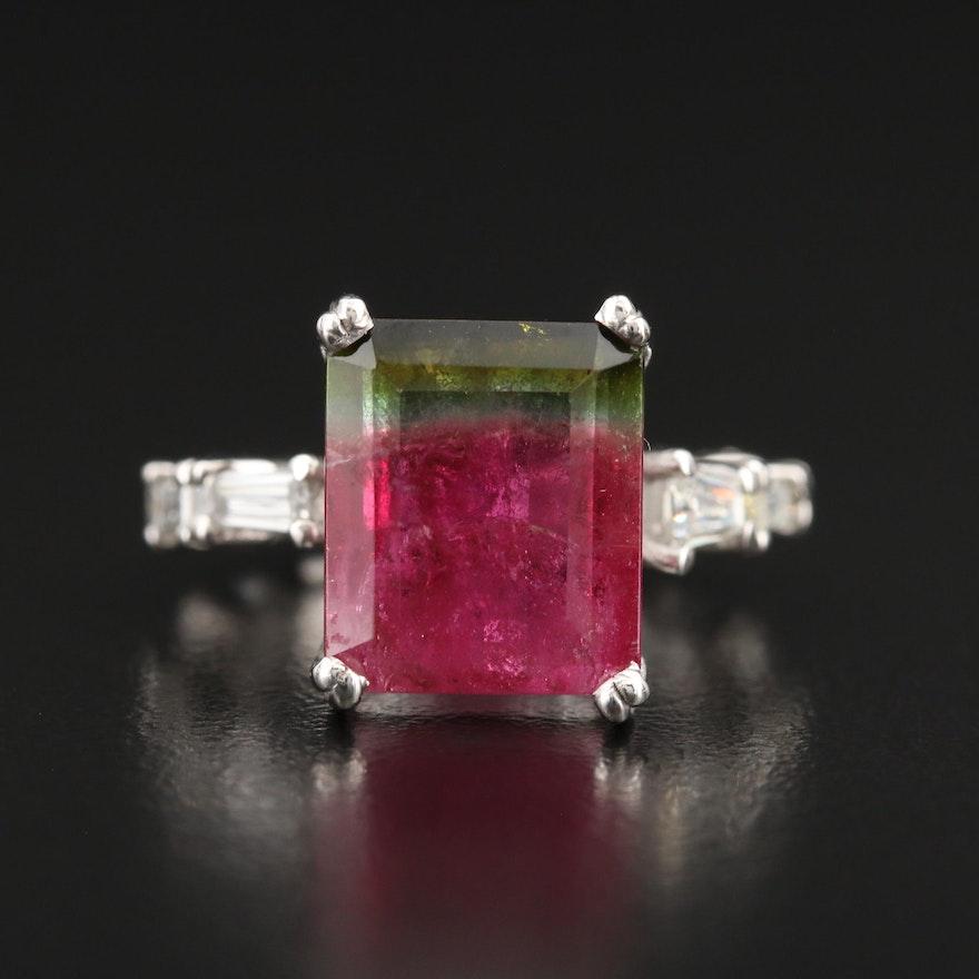 Platinum 5.35 CT Bi-Color Tourmaline and Diamond Ring