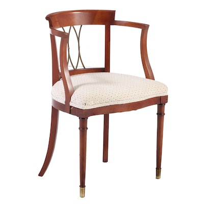 Duncan Phyfe Style Cherry Wood Armchair with Brass Capped Feet, Late 20th C.