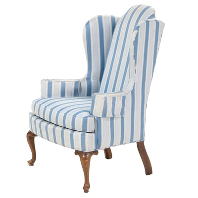 Drexel Queen Anne Style Upholstered Armchair, Mid-20th Century