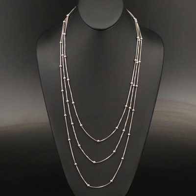 Sterling Box Chain Station Necklaces
