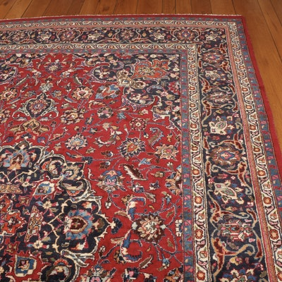 8'2 x 11'6 Hand-Knotted Persian Mashhad Room Sized Rug