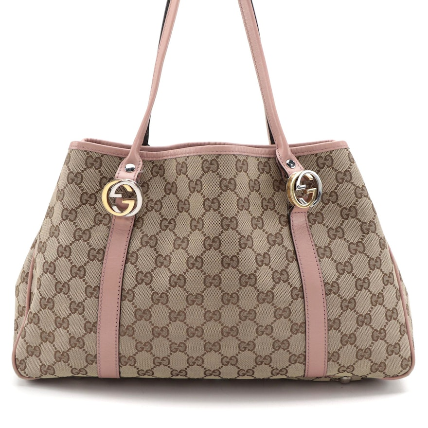 Gucci Twins Medium Tote Bag in GG Canvas with Pink Leather Trim