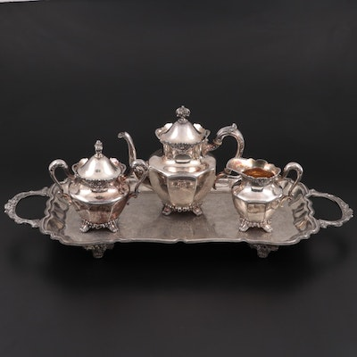 Wilcox Silver Plate Teapot, Creamer and Sugar Bowl with Leonard Tray