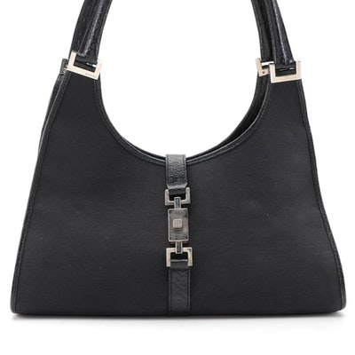 Gucci Bardot Bag in Black Canvas and Textured Leather Trim