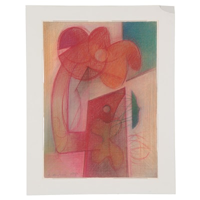 Walter Stomps Abstract Pastel Drawing, 1960