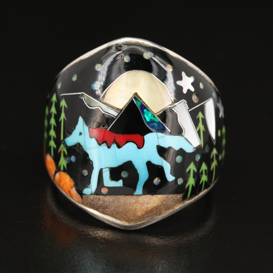 Southwestern Sterling Coyote Ring with Mother of Pearl, Opal and Resin Inlay