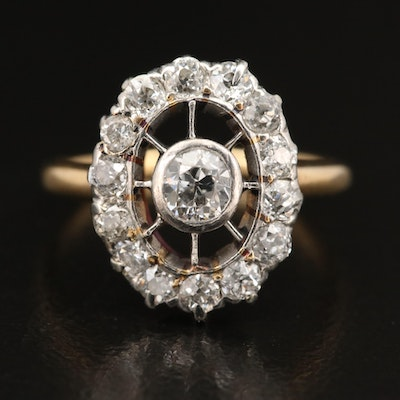Victorian 18K Diamond Ring with Platinum Halo Setting
