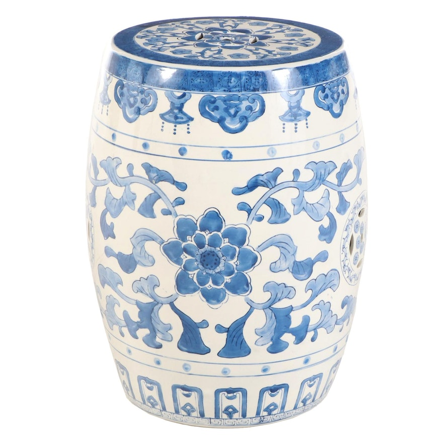 Chinese Style Blue and White Ceramic Garden Stool
