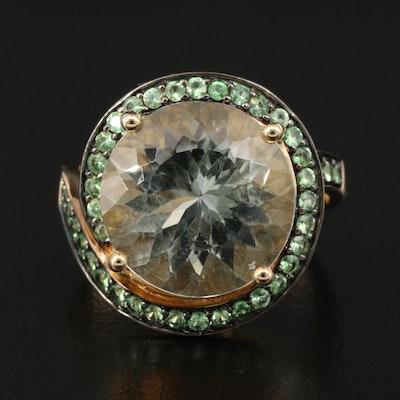 14K 9.30 CT Prasiolite Ring with Tsavorite Spiral Halo