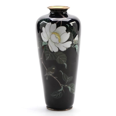 Japanese Cloisonné Enamel  Peony and Bird Vase
