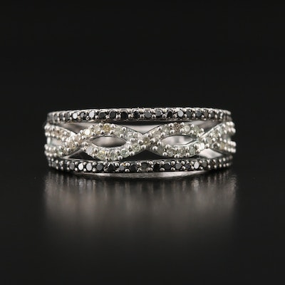 10K Diamond Openwork Band with Center Twist Motif