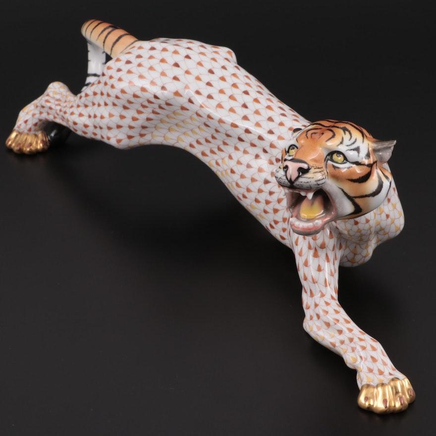 """Herend Natural and Fishnet Large """"Stalking Tiger"""" Figurine"""