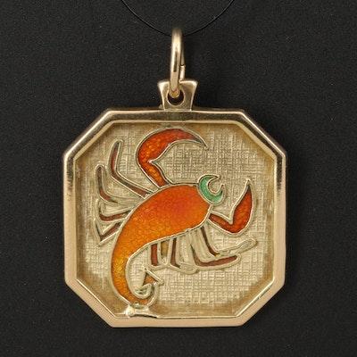 18K Enamel Scorpio Zodiac Pendant