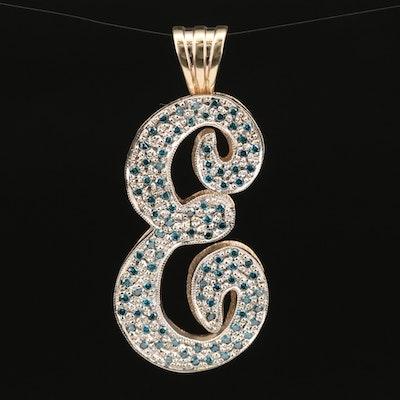 14K 1.06 CTW Diamond 'E' Pendant