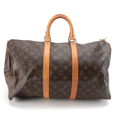 Louis Vuitton Keepall 45 Duffel Bag in Monogram Canvas and Vachetta Leather