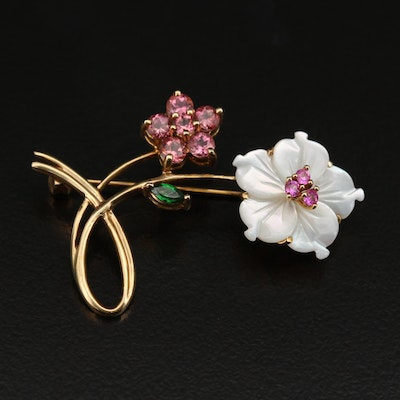 10K Carved Mother of Pearl, Pink Sapphire and Gemstone Floral Brooch