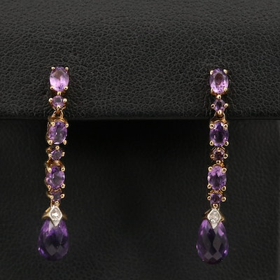 10K Amethyst and Diamond Drop Earrings