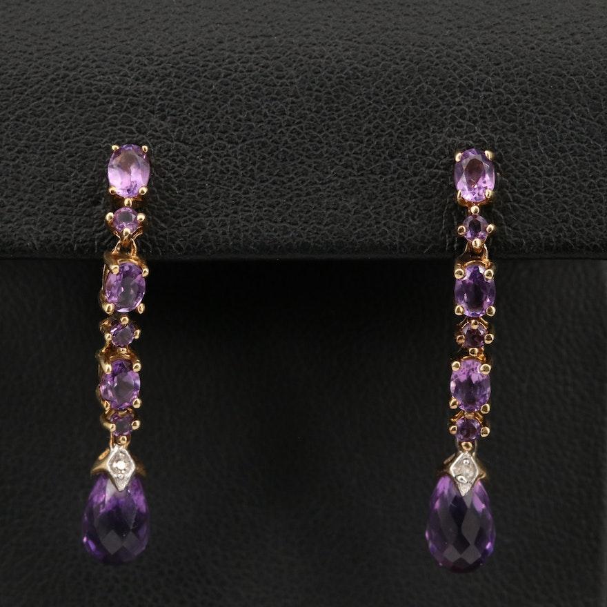 10K Amethyst and Diamond Drop Earrings