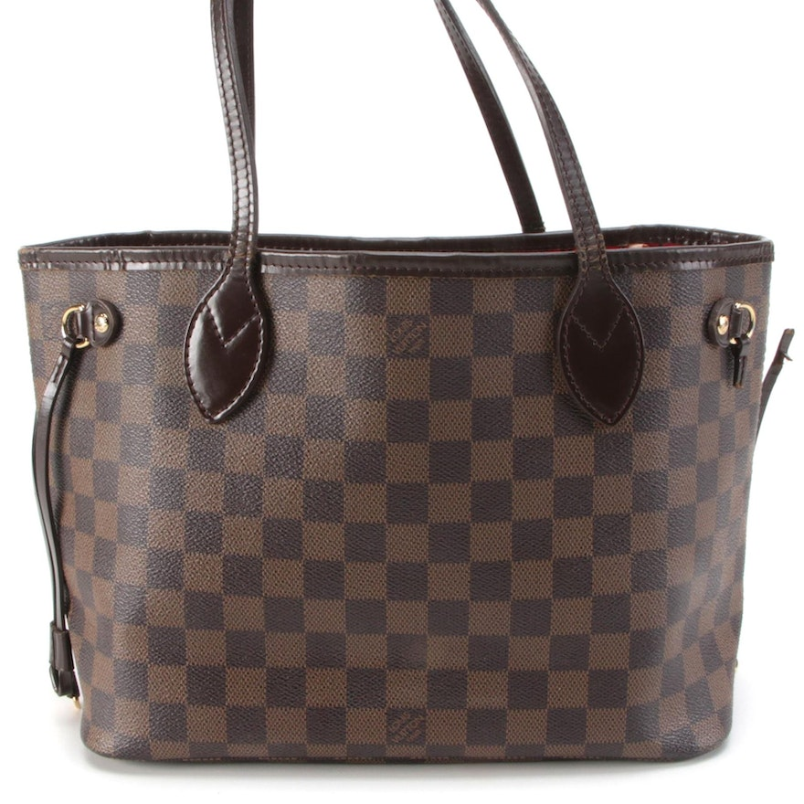 Louis Vuitton Neverfull PM Tote in Damier Ebene Canvas and Smooth Leather