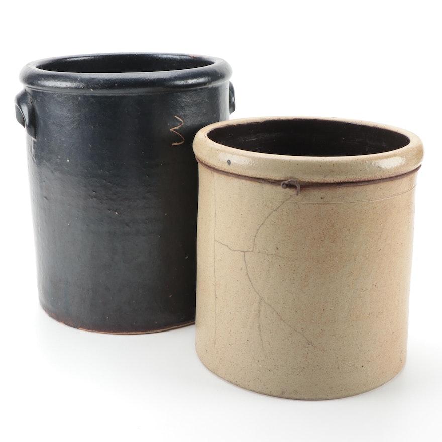 American 3-Gallon Blackware and Other Salt Glazed Stoneware Crocks