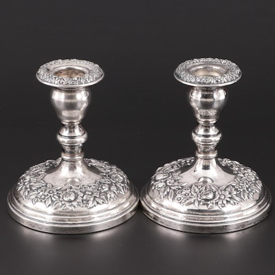 "S. Kirk & Son ""Repoussé"" Weighted Sterling Silver Candle Holders"