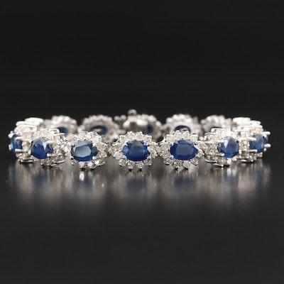 18K Sapphire and 7.04 CTW Diamond Bracelet