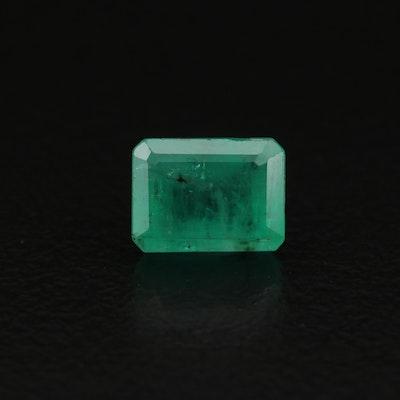 Loose 1.32 CT Cut Cornered Rectangular Faceted Emerald