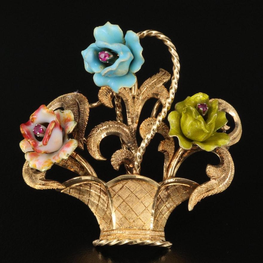 Vintage Italian 18K Ruby and Enamel Flower Basket Brooch