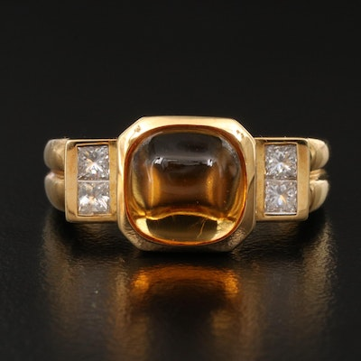 18K Citrine and Diamond Ring with Fluted Shank
