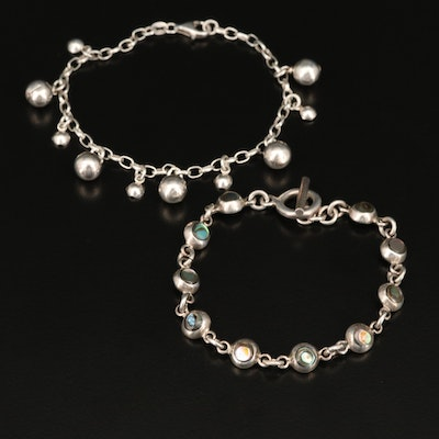 Sterling Abalone Inlay and Orb Bracelets