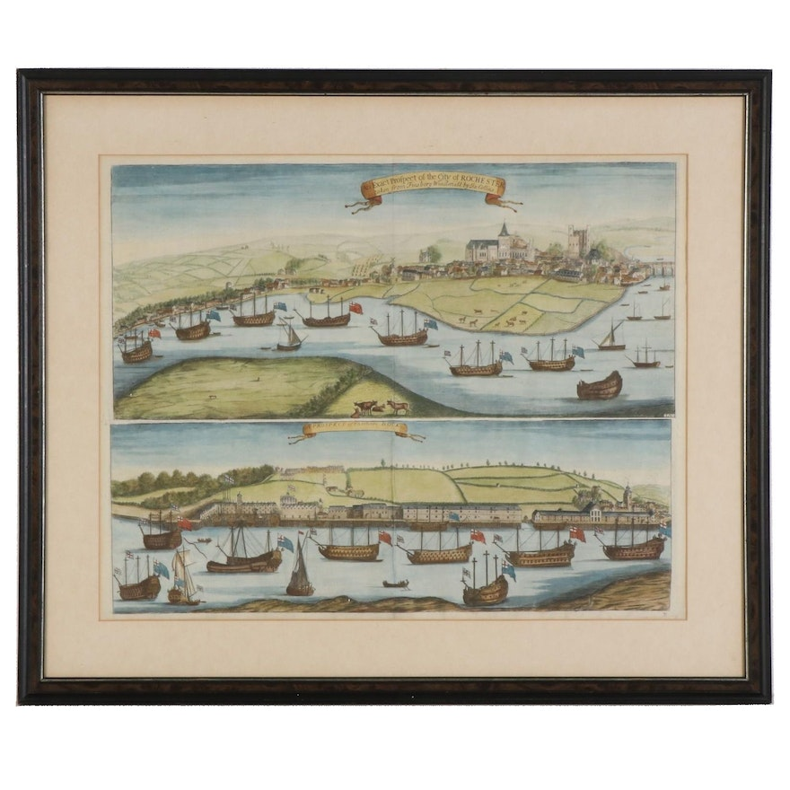 Hand-Colored Engravings after James Collins of Rochester and Dock, 19th Century