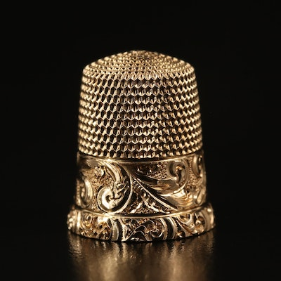14K Engraved Scrollwork Thimble, Early 20th Century