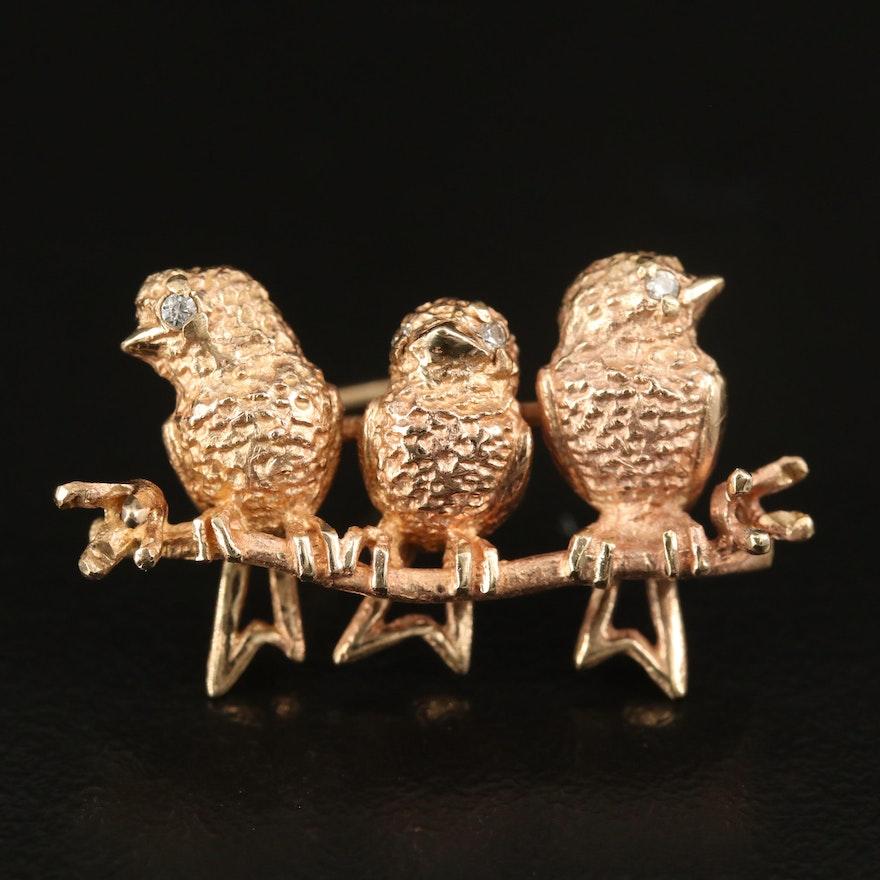 10K Bird Trio Brooch with Cubic Zirconia