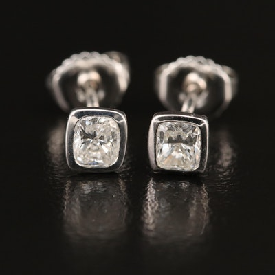 14K Bezel Set 0.70 CTW Diamond Solitaire Stud Earrings