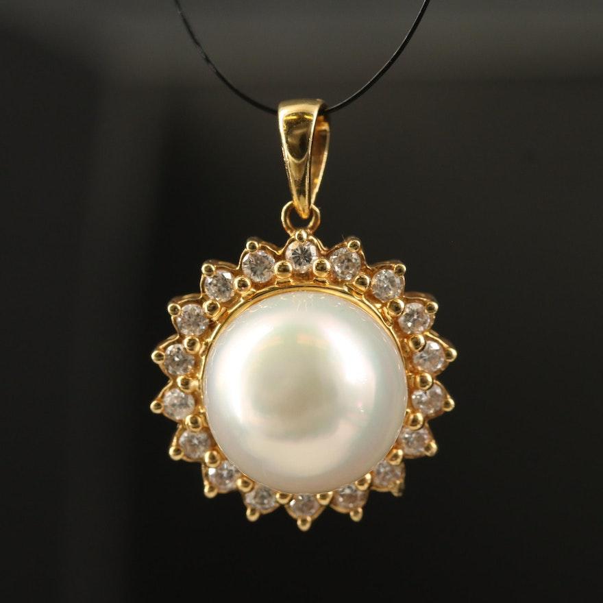 18K Semi-Baroque Pearl and Diamond Halo Pendant
